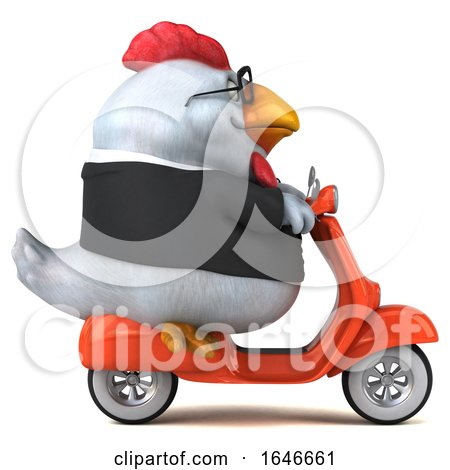 3d White Business Chicken Riding a Scooter, on a White Background by Julos