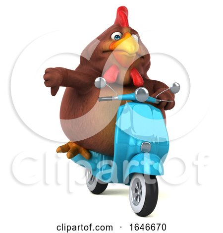 3d Chubby Brown Chicken Riding a Scooter, on a White Background by Julos
