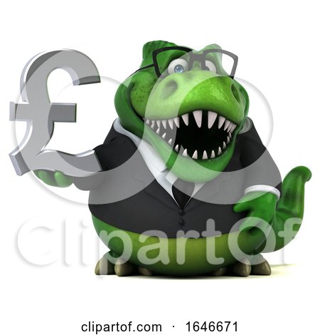 3d Green Business T Rex Dinosaur Holding a Pound Currency Symbol, on a White Background by Julos