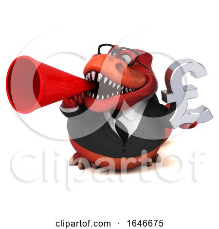 3d Red Business T Rex Dinosaur Holding a Pound Currency Symbol, on a White Background by Julos