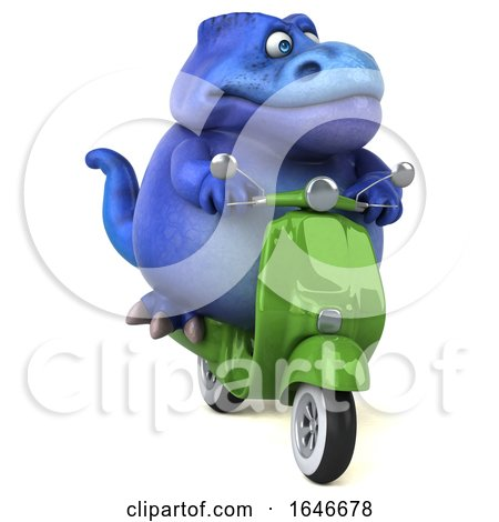 3d Blue T Rex Dinosaur Riding a Scooter, on a White Background by Julos