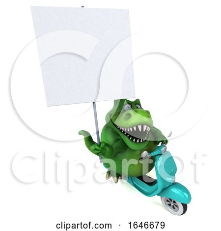 3d Green T Rex Dinosaur Riding a Scooter, on a White Background by Julos