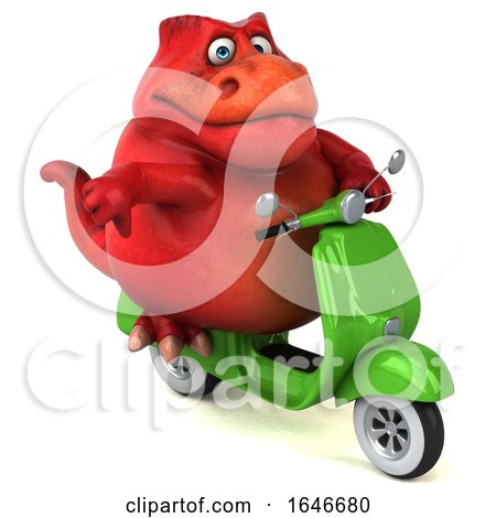 3d Red T Rex Dinosaur Riding a Scooter, on a White Background by Julos