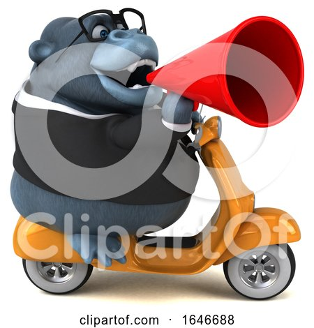 3d Business Gorilla Mascot Riding a Scooter, on a White Background by Julos