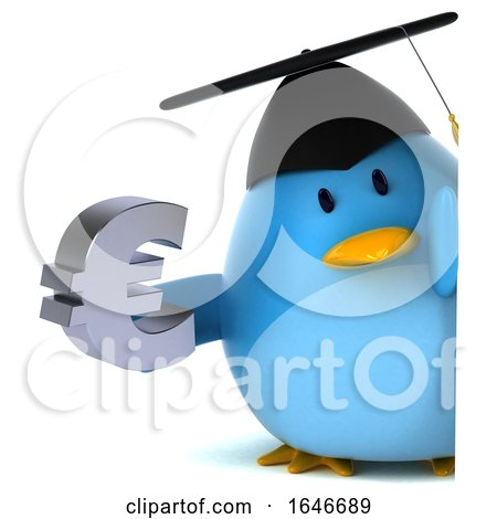 3d Chubby Blue Bird Graduate, on a White Background by Julos