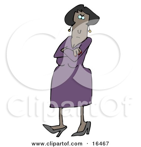 Angry African American Woman In A Purple Dress And Heels, Standing With Her Arms Crossed And Tapping Her Foot With A Stern Expression On Her Face Clipart Illustration Graphic by djart