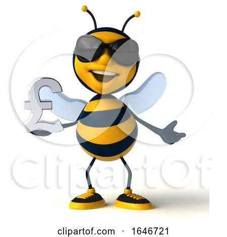 3d Male Bee, on a White Background by Julos