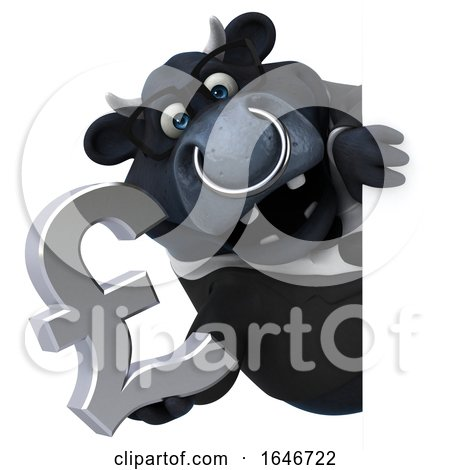 3d Black Business Bull Holding a Pound Currency Symbol, on a White Background by Julos