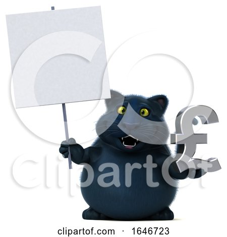 3d Black Kitty Cat Holding a Pound Currency Symbol, on a White Background by Julos