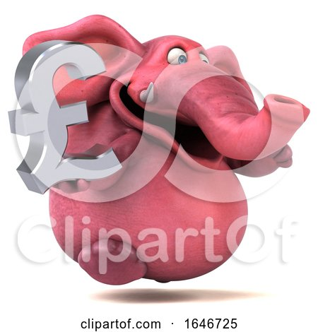 3d Pink Elephant, on a White Background by Julos