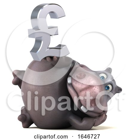 3d Hippo Holding a Lira, on a White Background by Julos