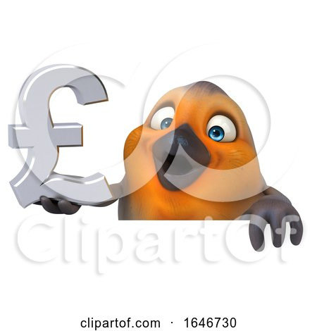 3d Robin Bird Holding a Pound Currency Symbol, on a White Background by Julos