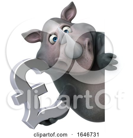 3d Rhinoceros, on a White Background by Julos