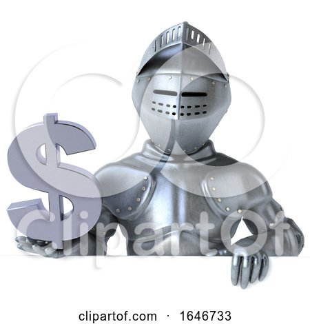 3d Armored Knight Holding a Dollar Sign, on a White Background by Julos