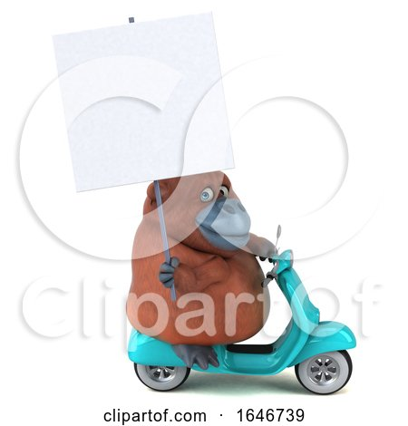 3d Orangutan Monkey Riding a Scooter, on a White Background by Julos