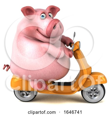 3d Chubby Pig Riding a Scooter, on a White Background by Julos