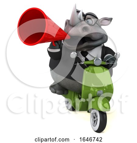 3d Business Rhinoceros Riding a Scooter, on a White Background by Julos