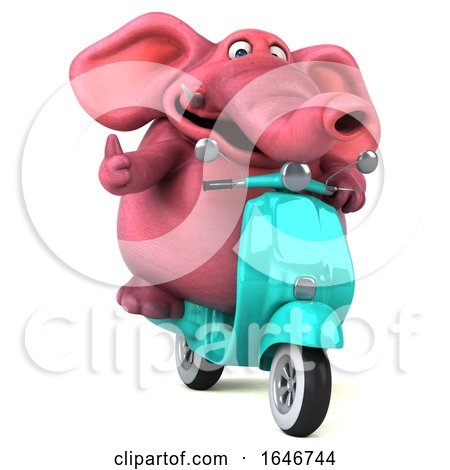 3d Pink Elephant Riding a Scooter, on a White Background by Julos