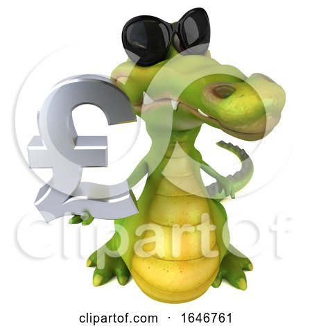 3d Crocodile Holding a Pound Currency Symbol, on a White Background by Julos