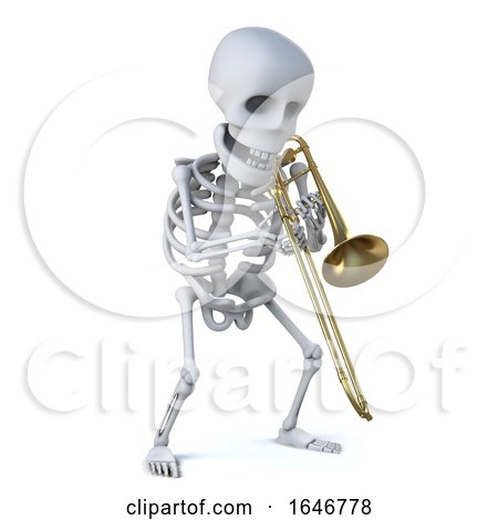 3d Skeleton Playing a Trombone by Steve Young
