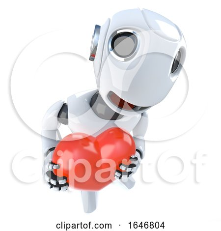3d Funny Cartoon Robot Character Holding a Red Romantic Heart Posters, Art Prints