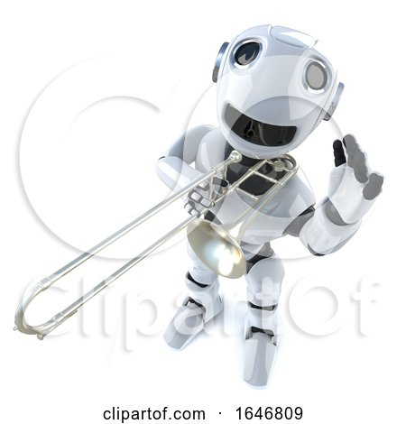 3d Funny Cartoon Robot Character Playing the Trombone by Steve Young