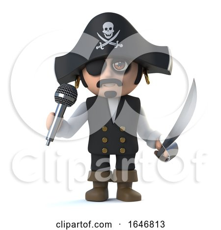 3d Crazy Cartoon Pirate Captain Character Sings into a Micrphone by Steve Young
