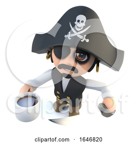 3d Funny Cartoon Pirate Captain Character Drinking a Cup of Coffee Posters, Art Prints