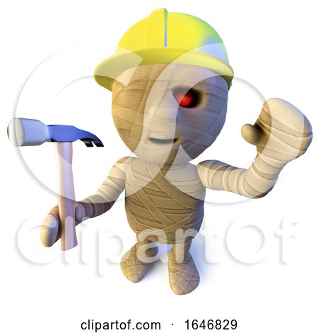 3d Funny Cartoon Egyptian Mummy Character Wearing a Hard Hat and Holding a Hammer by Steve Young