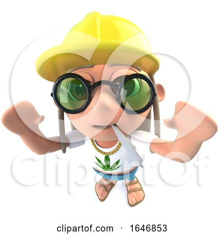 3d Funny Cartoon Hippy Stoner Character Wearing a Construction Hard Hat by Steve Young