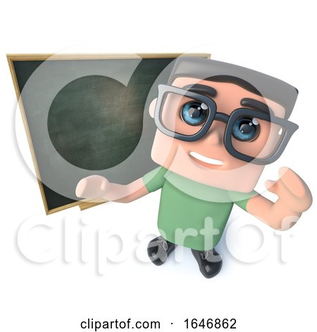 3d Funny Cartoon Geek Nerd Hacker Character Standing in Front of a Blackboard by Steve Young