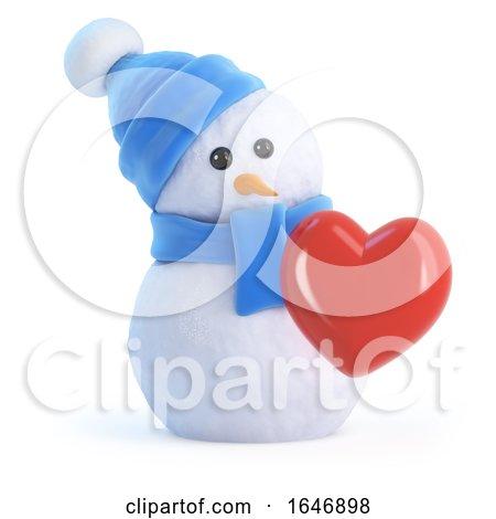 3d Snowman Is in Love Posters, Art Prints