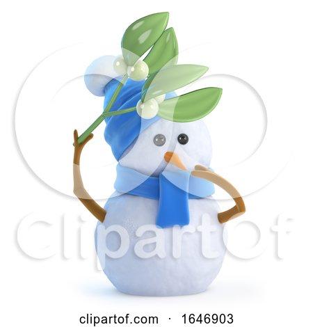 3d Snowman with Mistletoe Posters, Art Prints