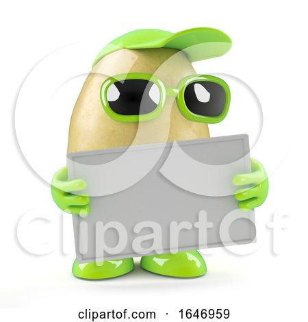 3d Potato Holds a Banner by Steve Young