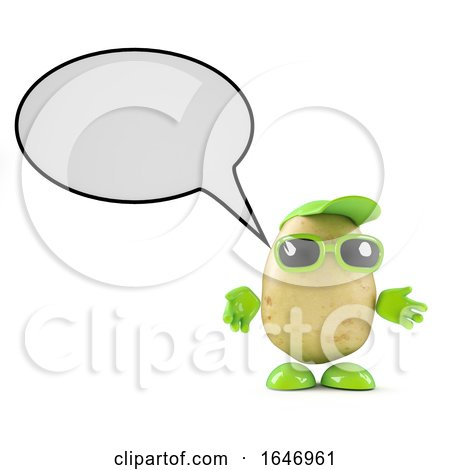 3d Potato Character with Speech Balloon by Steve Young