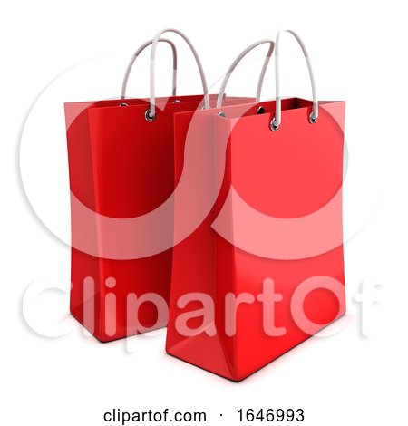 3d Two Red Shopping Bags by Steve Young