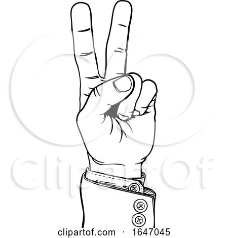 Peace Victory Hand Business Suit Two Finger Sign by AtStockIllustration