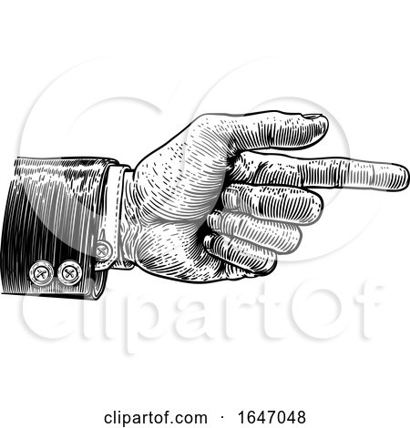 Hand Pointing Finger Direction in Business Suit by AtStockIllustration