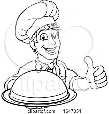 Chef Holding Plate Platter Sign Cartoon by AtStockIllustration