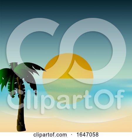 Sunset Tropical Scene Background by elaineitalia