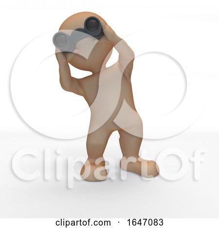 3D Morph Man Looking Through Binoculars by KJ Pargeter