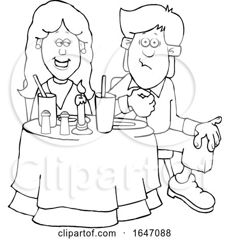 Cartoon Black and White Couple on a Date at a Restaurant by djart