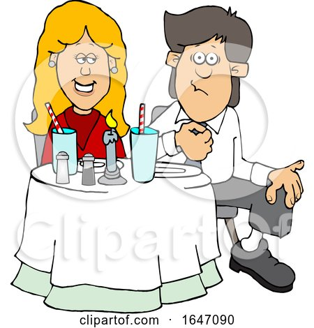 Cartoon Couple on a Date at a Restaurant by djart