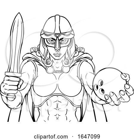 Viking Trojan Celtic Knight Bowling Warrior Woman by AtStockIllustration
