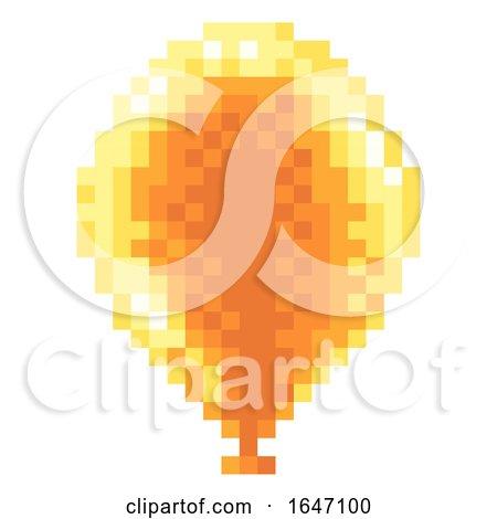 Arcade Video Game Pixel Art 8 Bit Balloon Icon by AtStockIllustration