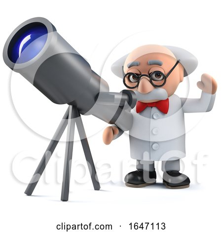3d Mad Scientist Character Looking at the Stars with His Telescope by Steve Young