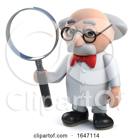 3d Mad Scientist Character Holding a Magnifying Glass by Steve Young
