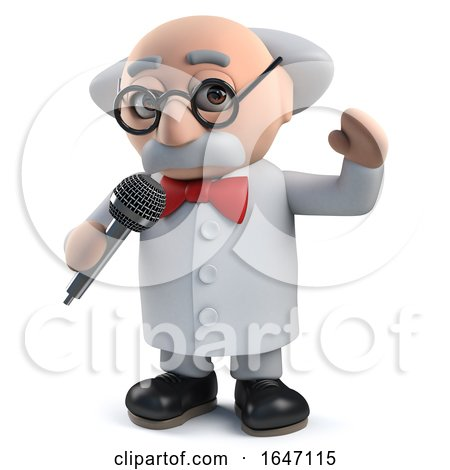 3d Mad Scientist Character Singing into a Microphone by Steve Young