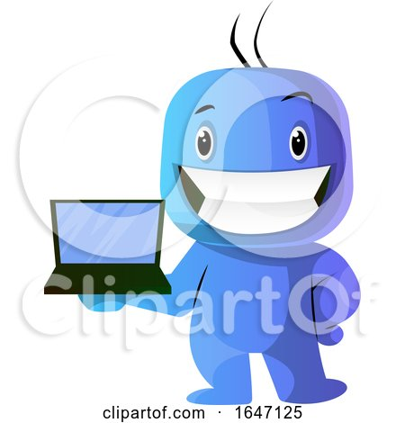 Blue Cartoon Man Holding a Laptop by Morphart Creations
