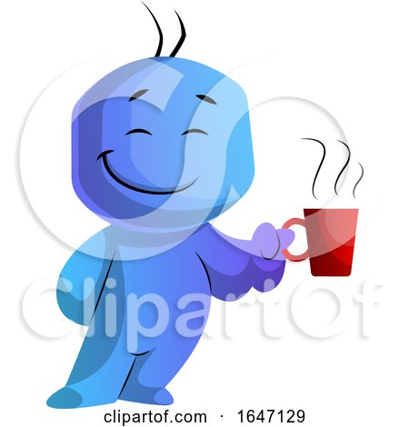 Happy Blue Cartoon Man Boss Holding a Coffee Cup by Morphart Creations